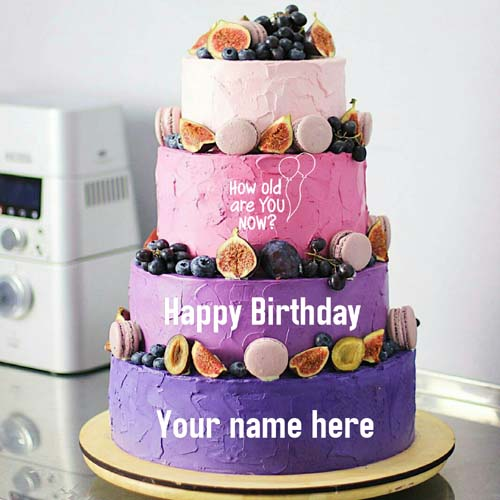 Four Layer Fruit Birthday Name Cake For Husband