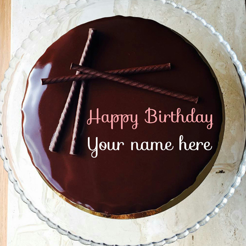 Write Name On Delicious Chocolate Cream Birthday Cake