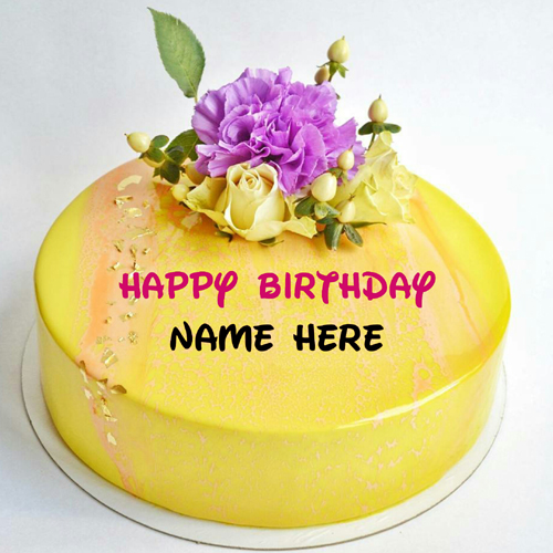 Pineapple Flavor Birthday Name Cake With Flower