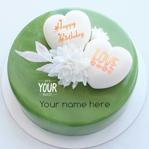 Green Color Happy Birthday Cake With Heart For Love