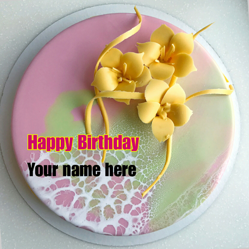 Write Name On Birthday Cake With Cream Flower For Papa