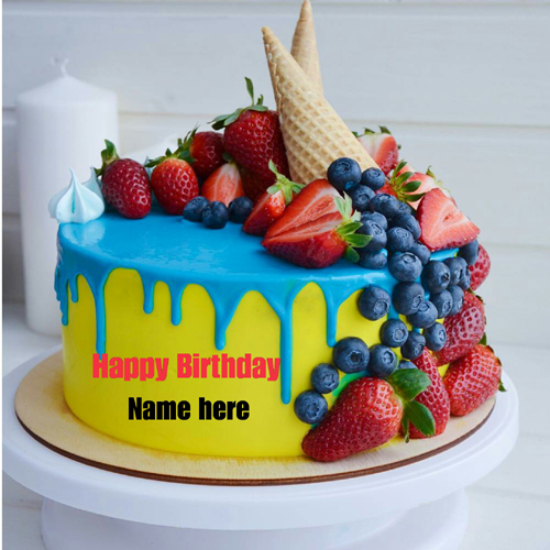 Write Name On Birthday Cake With Fruit Toppings