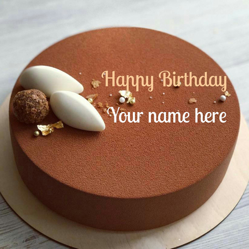 Write Name On Chocolate Velvet Birthday Wishes Cake