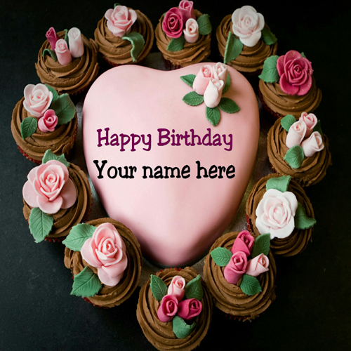 Write Name On Heart Shaped Rose Flower Birthday Cake