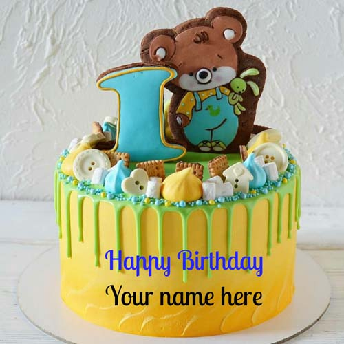 Happy 1st Birthday Wishes Name Cake For Kids