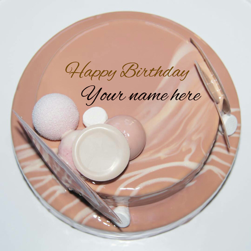 Type Name On Caramel Birthday Cake For Brother