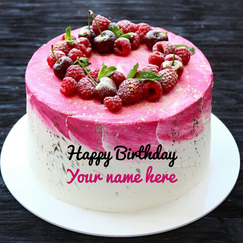 Vanilla Strawberry Birthday Cake For Brother With Name