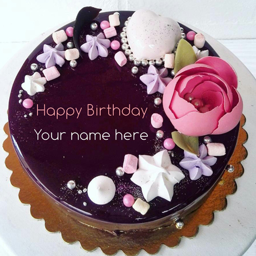 Beautiful Chocolate Birthday Cake With Name On It