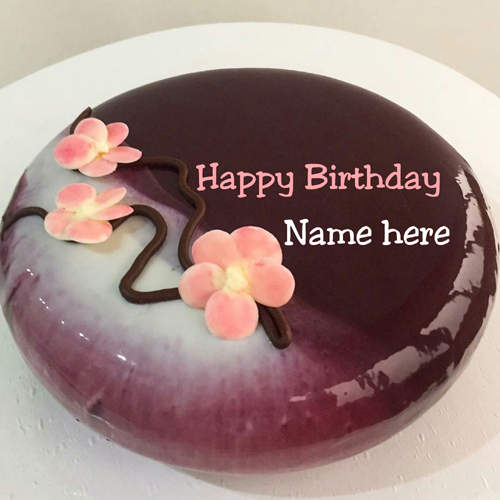 Chocolate Flower Birthday Cake With Name On It