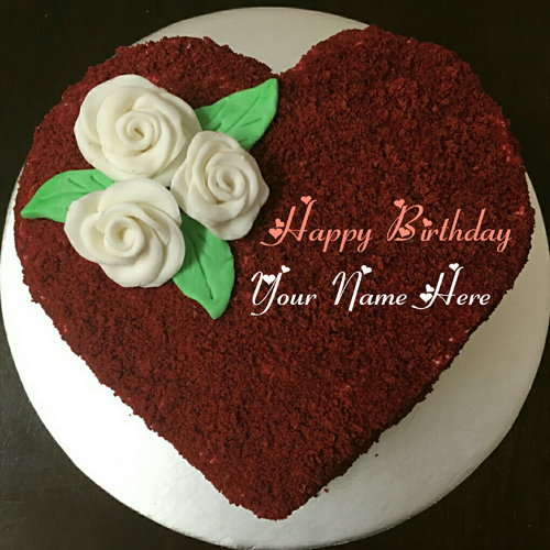 Chocolate Velvet Heart Birthday Cake For Love With Name