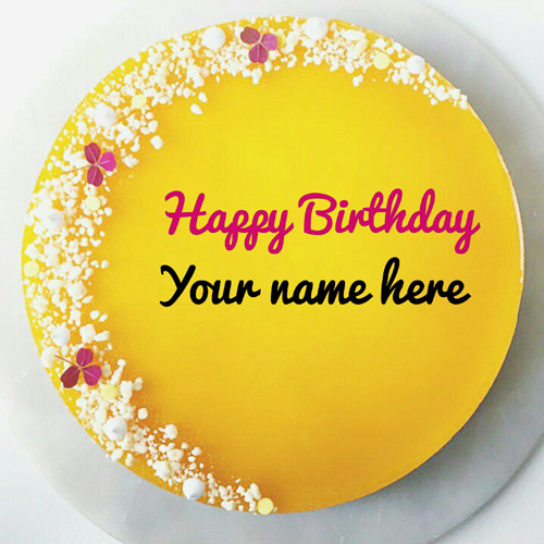 Mango Flavor Birthday Cake With Name For Dear Friend