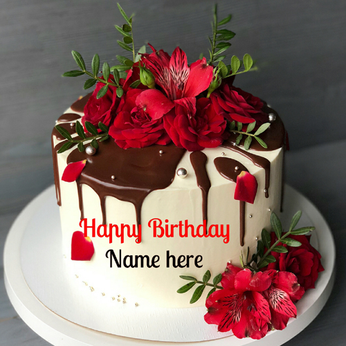 Flower Birthday Cake With Chocolate Sauce Topping
