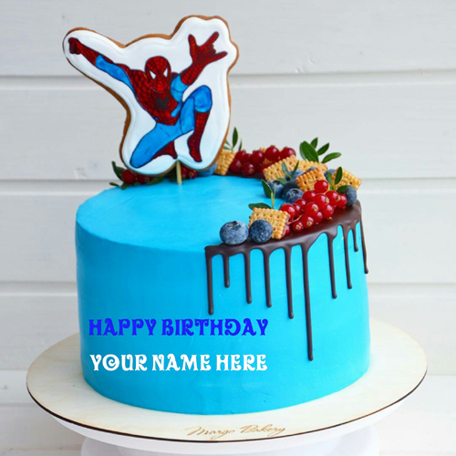 Spider man Birthday Cake With Kid Name On It