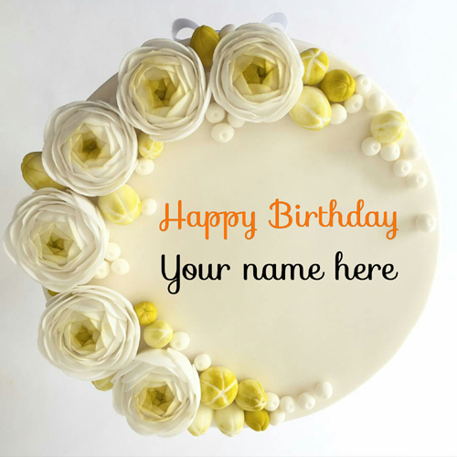 Elegant Flower Birthday Cake With Name On It