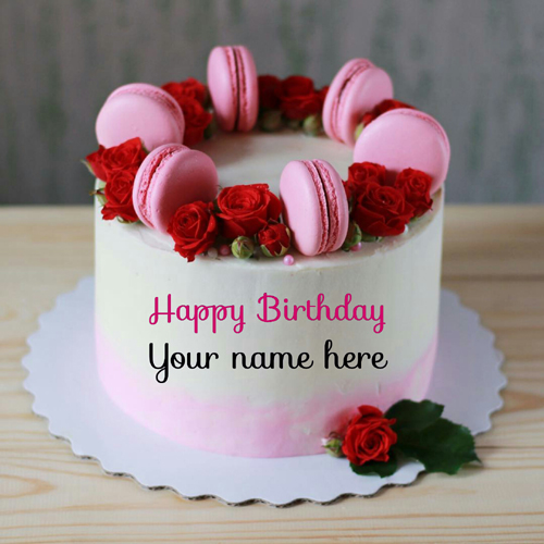 Write Name On Birthday Cake With Roses For Wife