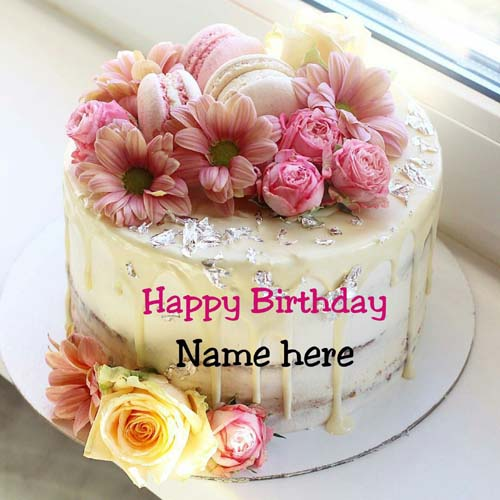 Butter Cream Flower Decorated Birthday Cake With Name