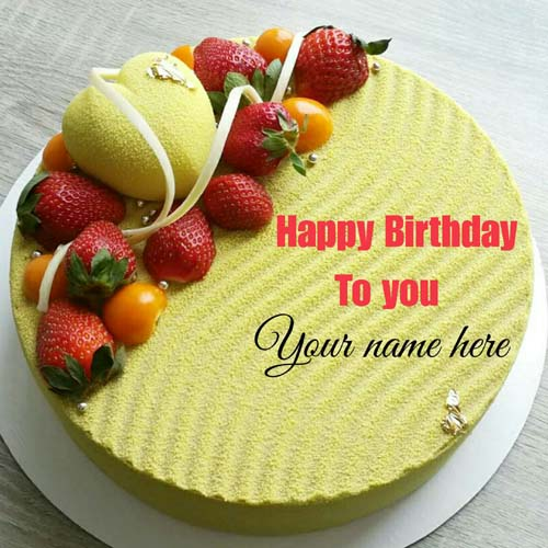 Pineapple Flavor Birthday Name Cake With Strawberry