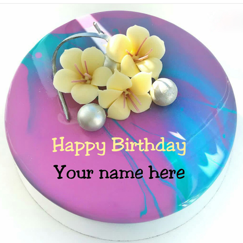Floral Art Beautiful Birthday Cake With Name For Mummy