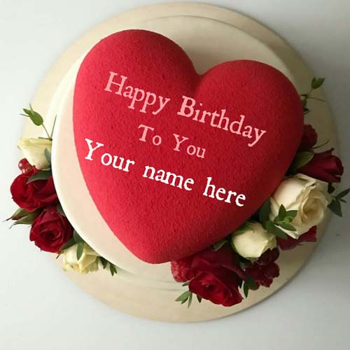 Red Heart Flower Decorated Birthday Cake With Name
