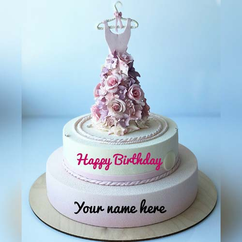 Write Name On Cream Birthday Cake With Dress