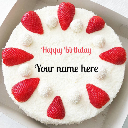 Strawberry Vanilla Birthday Cake With Sister Name