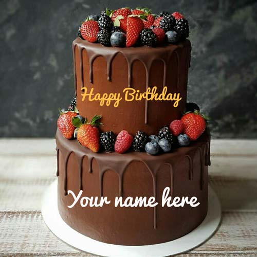 Double Layer Chocolate Birthday Cake With Fruit Topping