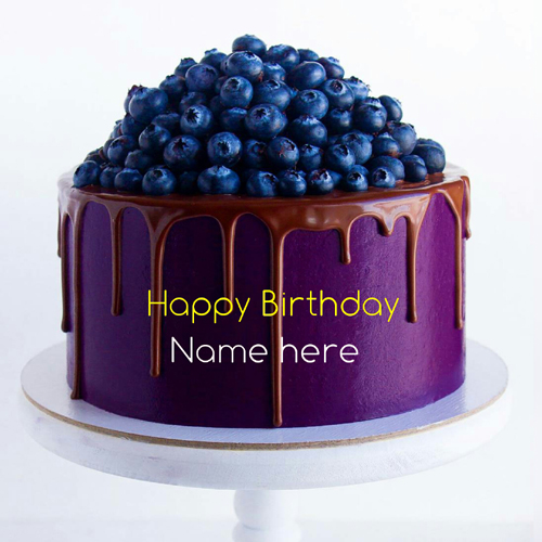 Type Name On Black Current Birthday Cake With Blueberry