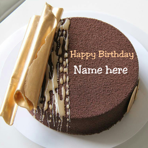 Chocolate Caramel Velvet Birthday Cake With Name On It