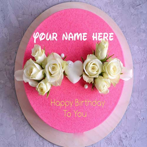 White Rose Flower Decorated Name Birthday Cake With Hea