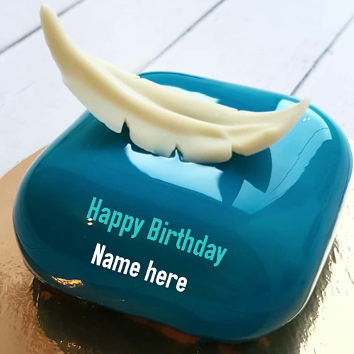 Cubical Shaped Mirror Glazed Birthday Cake With Name
