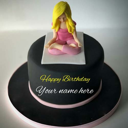 Yoga Themed Happy Birthday Cake With Name On It