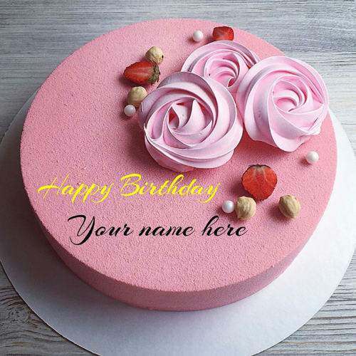 Rose Flavor Butter Cream Birthday Cake With Name