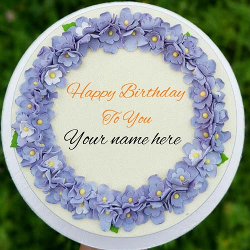 Generate Name On Lavender Flower Birthday Cake