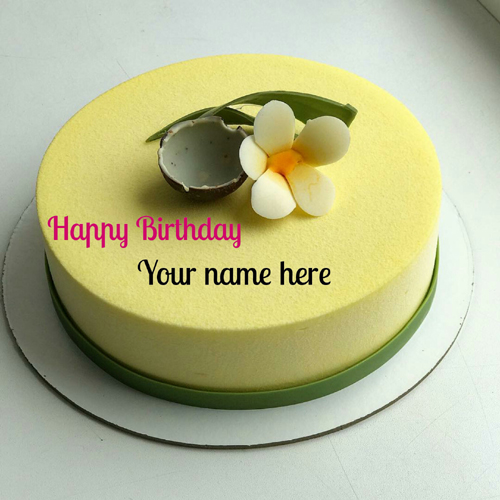 Coconut Flavor Birthday Cake With Name For Husband
