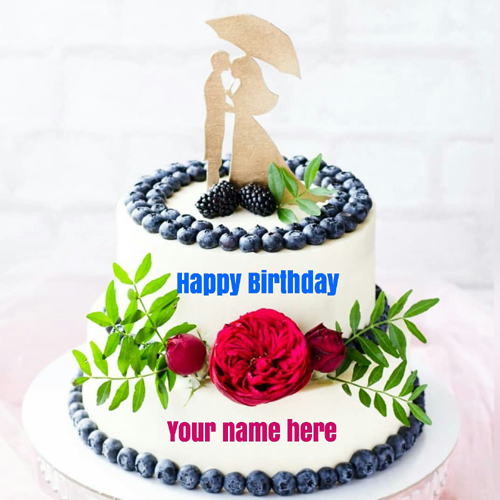 Double Layer Birthday Cake For Love With Name On It