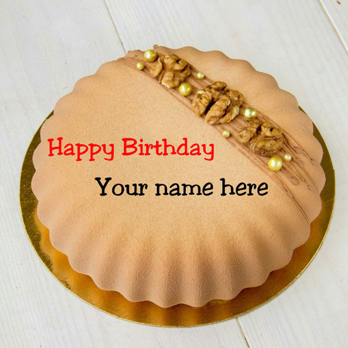 Walnut Birthday Wishes Cake With Name Edit For Father