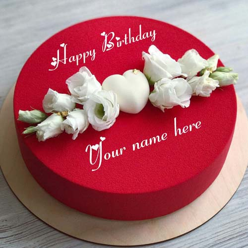 Red Velvet Rose Flower Birthday Cake With Name On It