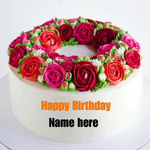 Rose Flower Butter Cream Cake With Name On It