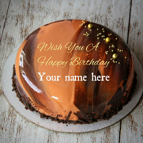 Orange Chocolate Birthday Cake With Name For Husband