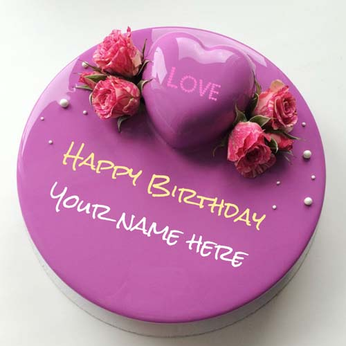 Birthday Heart Flower Cake With Name For Love
