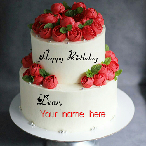 Double Layer Red Rose Flower Birthday Cake With Name