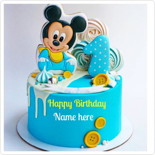 Mickey Mouse Theme Birthday Cake For 1 Year Kid