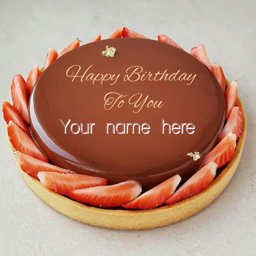 Chocolate Birthday Name Cake With Strawberry Toppings