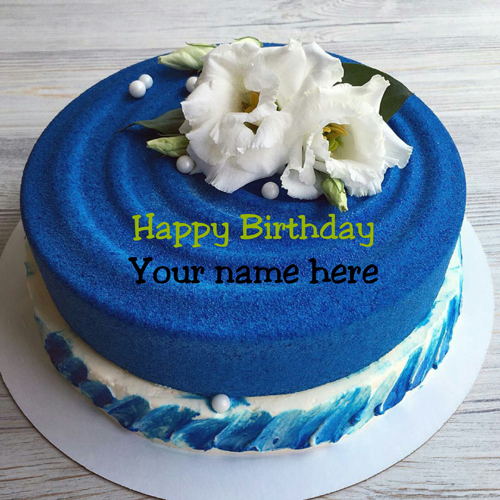 Blue Velvet Cake With Name For Mother Birthday