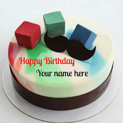 Happy Birthday Name Cake With Mustache For Husband