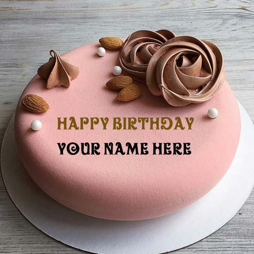 Write Name On Almond Flavor Happy Birthday Cake