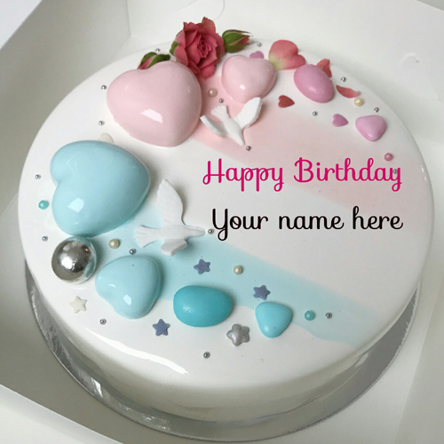Multiple Heart On Birthday Cake With Name For Love