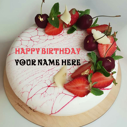 Vanilla Birthday Cake For Father With Fruit Toppings