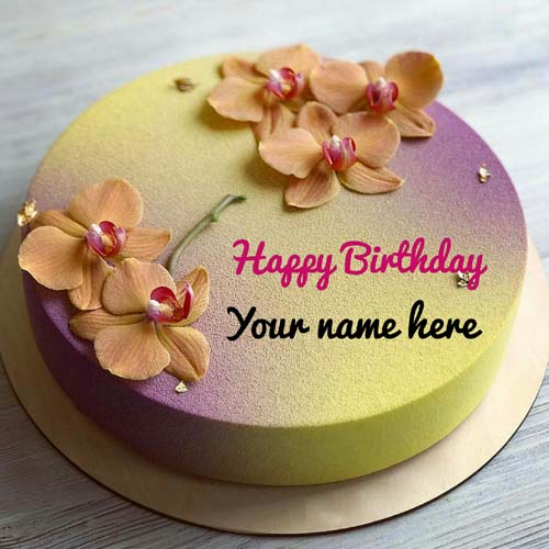 Generate Name On Flower Decorated Birthday Cake For Sis