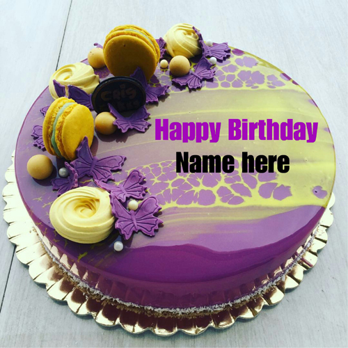 Black Current Birthday Cake With Name For Sister